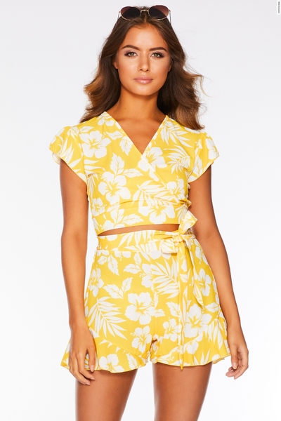 Yellow and White Tropical Print Shorts